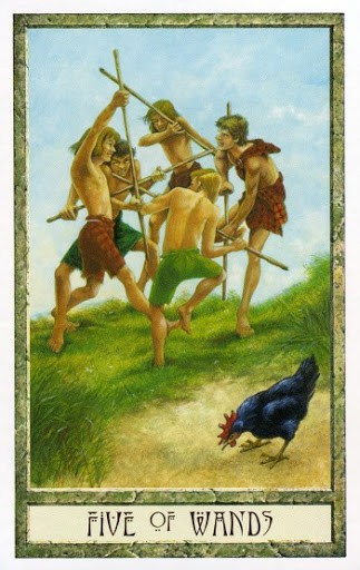 Lá Five of Wands - Druidcraft Tarot 1