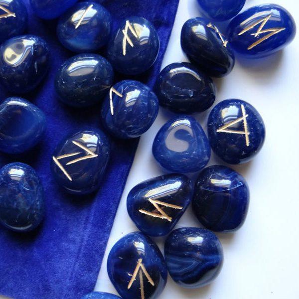 Bộ Đá Runes Blue Onyx