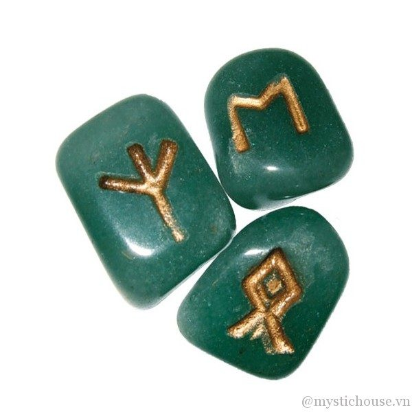 Bộ Đá Runes Green Aventurine