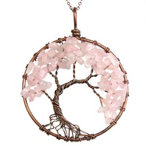 Mặt Dây Chuyền Tree of Life Rose Quartz